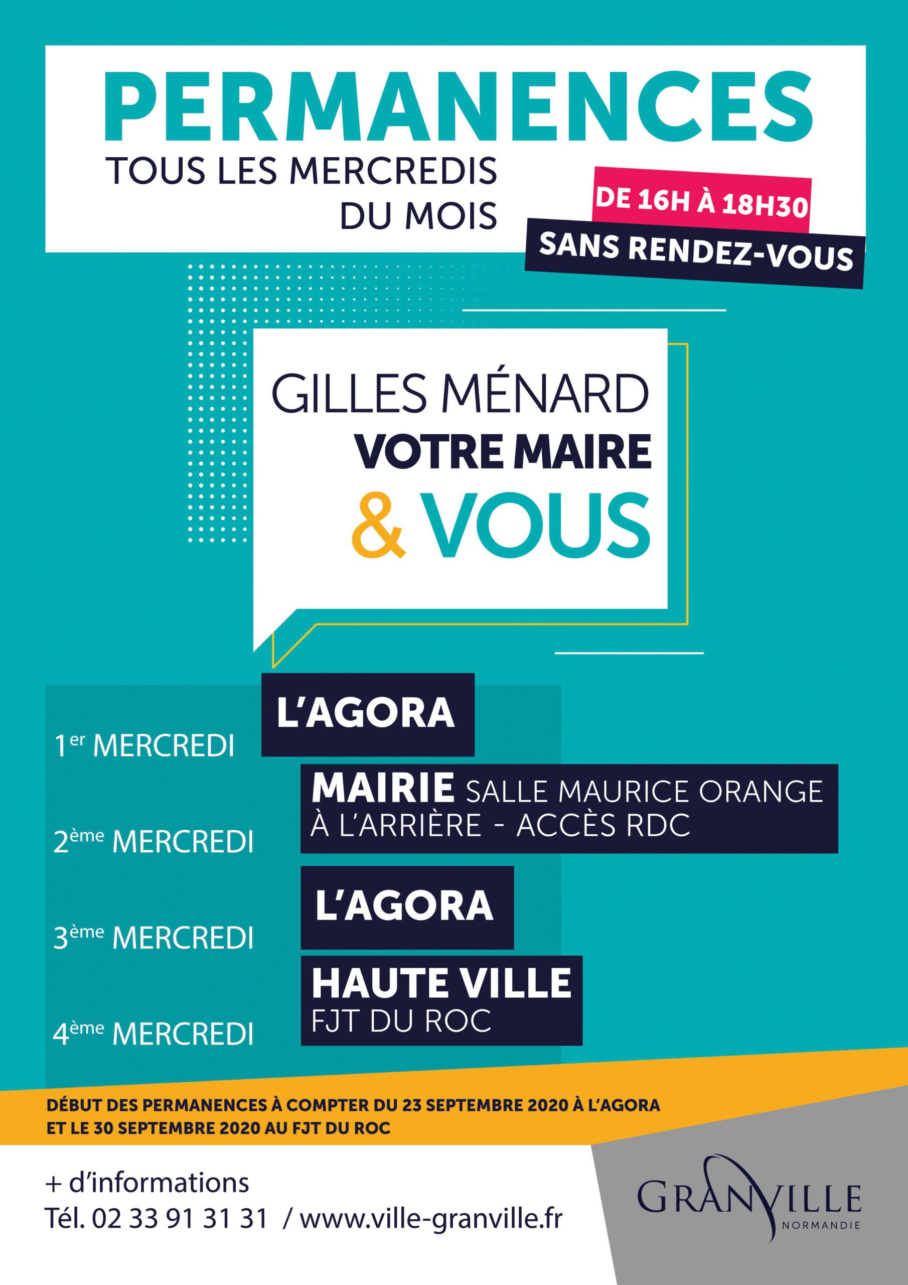 Gilles Ménard recevra les administrés sans rendez-vous tous les mercredis du mois, de 16h à 18h30, en différents lieux de Granville, à compter du 23 septembre 2020.